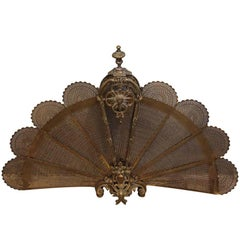 1930s Antique Brass Fan Fireplace Screen with Figural and Decorative Details
