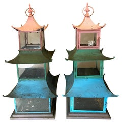 Pair of 1940s Japanese Painted Pagoda/Lanterns