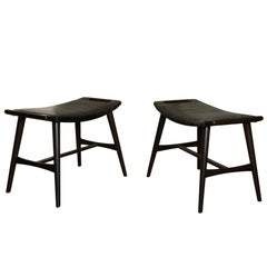 Pair of Finn Juhl Style Modern Leather and Wood Stools