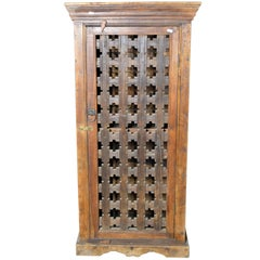 19th Century Indian Wooden Cabinet with Single Fretwork Door and Brass Handle