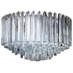 Chandelier Designed for Venini Metal Crystal Vintage, Italy, 1970s-1980s