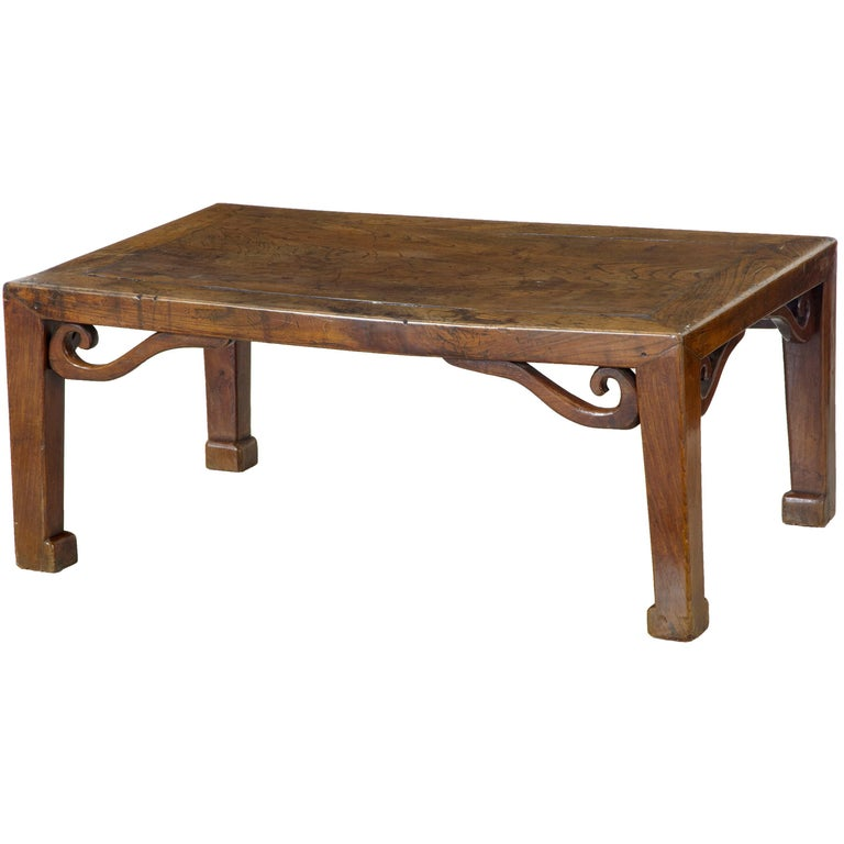 19th Century Carved Chinese Elm Low Table