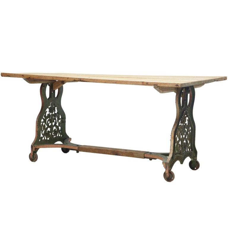 19th Century Iron Base Table with Pine Top