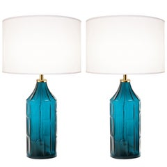 Pair of Large Swedish Teal Blue Lamps