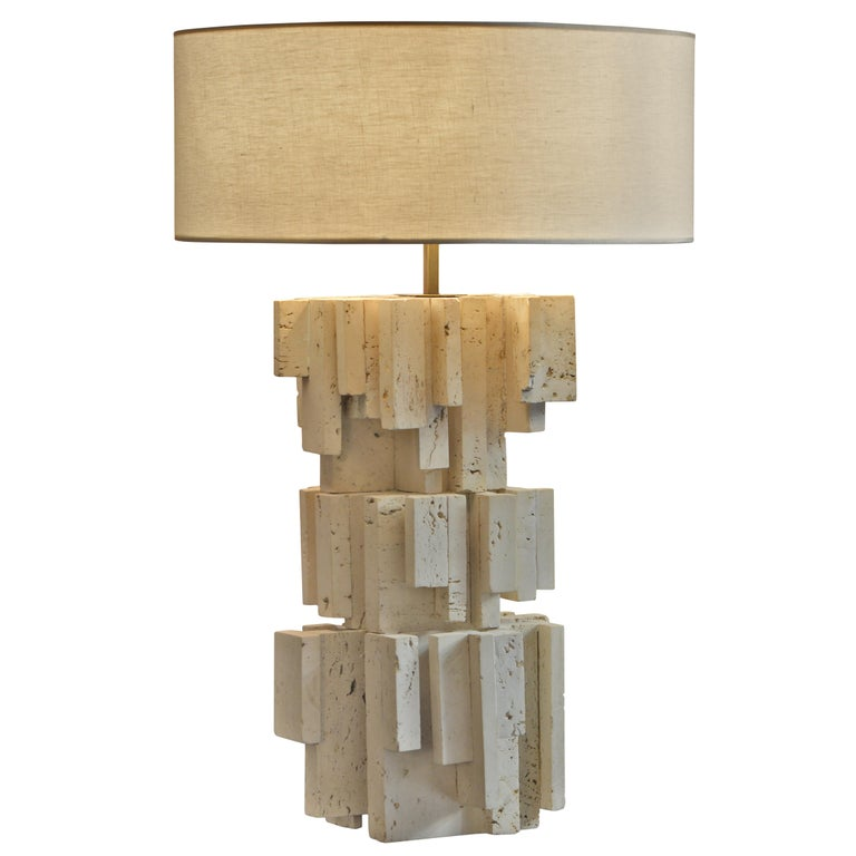 Sculptural Travertine Table Lamp 1, France, 1970s