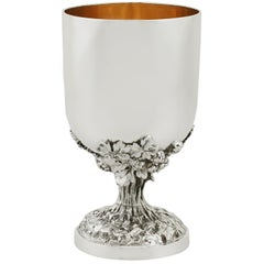1859 Antique Victorian Sterling Silver Goblet by John Samuel Hunt