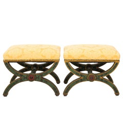 Pair of Late 19th Century Curule Style Benches