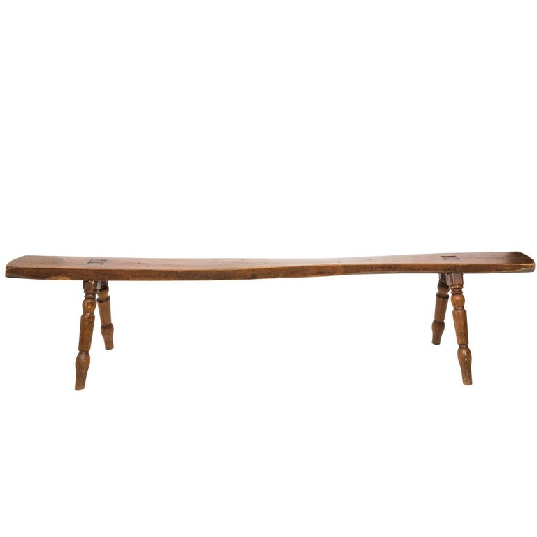 19th Century English Wooden Hall Bench