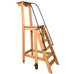 Early 20th Century Iron and Oak Work Ladder