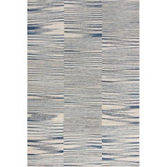 Blue Contemporary Flat-Weave Rug