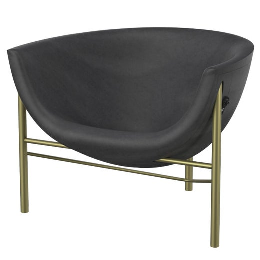Heated Indoor/Outdoor Cast Stone Kosmos Chair with Custom Frame, Charcoal