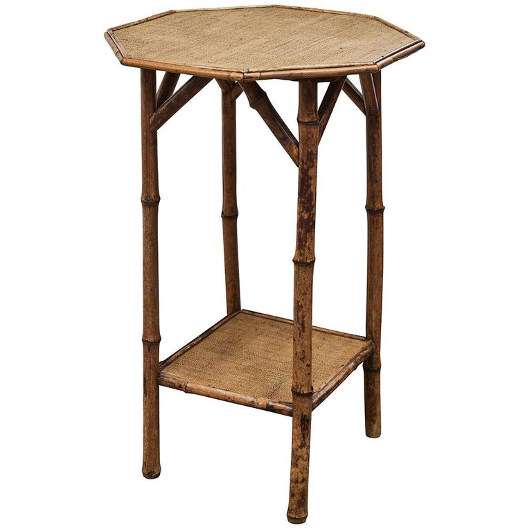 Small Octagonal Top Bamboo Side Table