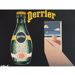 Original Vintage Poster, Perrier by the Beach by Villemot, 1982