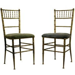 Pair of Brass Faux Bamboo Dining Chairs, Italy, 1960s