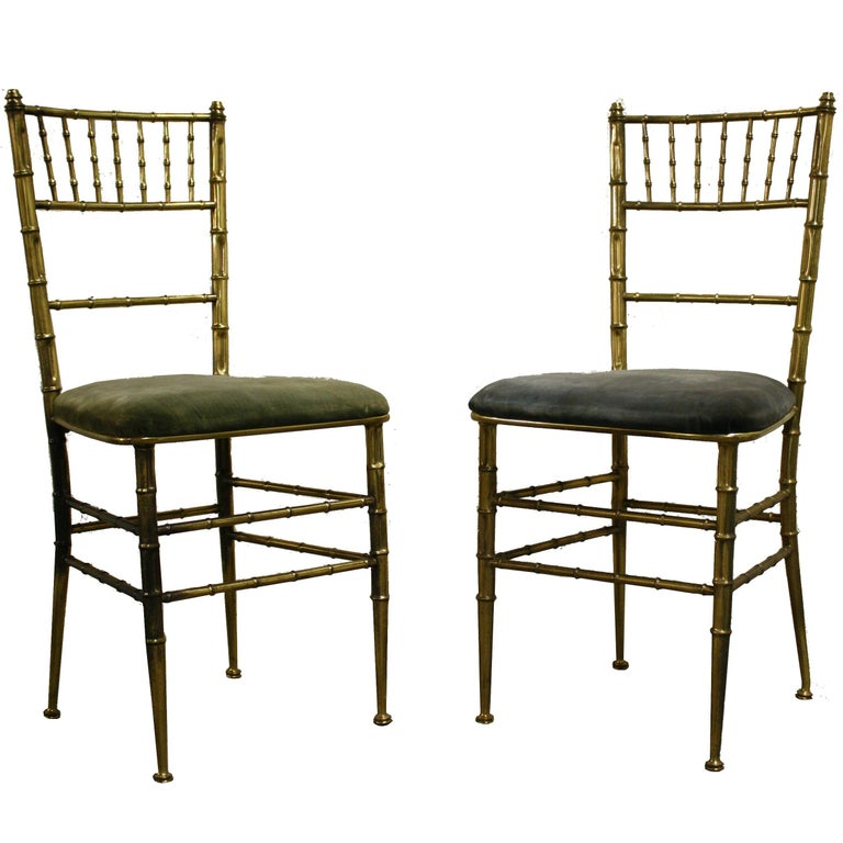Pair Of Br Faux Bamboo Dining Chairs Italy 1960s For