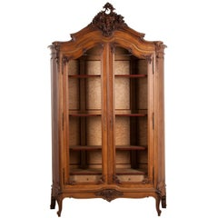 French, 19th Century Louis XV Style Walnut Display Armoire