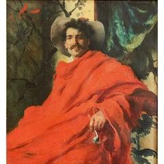 """Man in Crimson Cloak,"" Bravura Painting by Francesco Vinea, Belle Epoch"