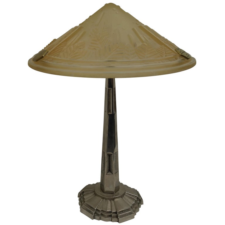 Art Deco Glass Table Lamp, 1920s-1930s
