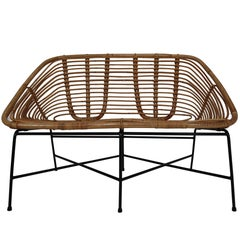 Midcentury Rattan, Wicker and Iron Settee, Patio Bench, Italy, 1960s