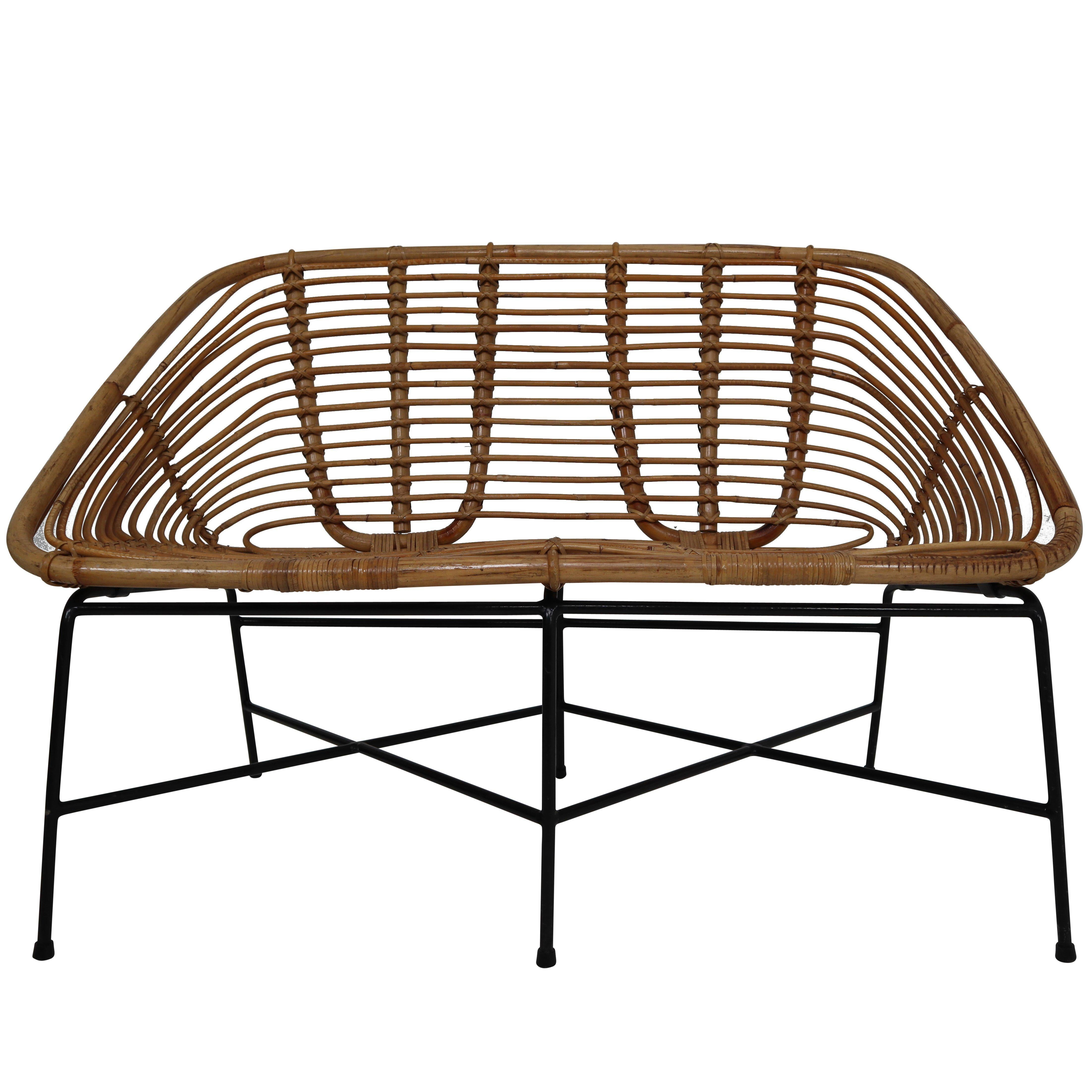 Midcentury Rattan, Wicker And Iron Settee, Patio Bench, Italy, 1960s For  Sale