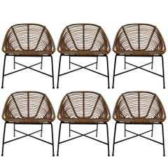 Six Midcentury Rattan, Wicker and Iron Patio Chairs, Italy, 1960s