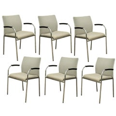 Six Keilhauer Flit-3813 Modern Chrome Dining Office Stacking Floating Armchairs