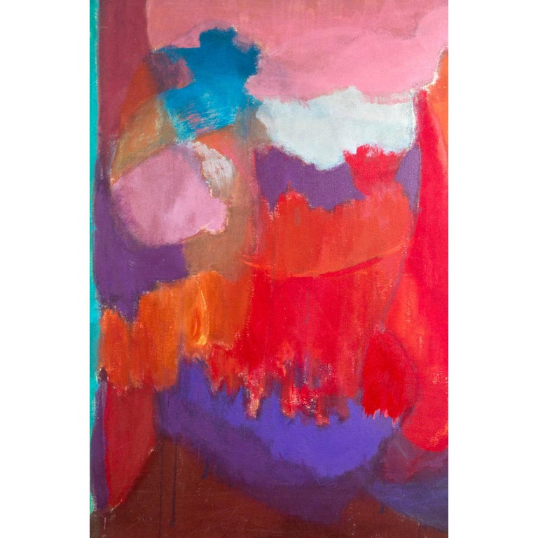 Elsa Schachter, Abstract Painting Pinks, Purples, Reds, 1960s For Sale