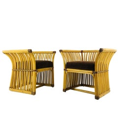 Handsome McGuire Style Lounge Chairs, Pair