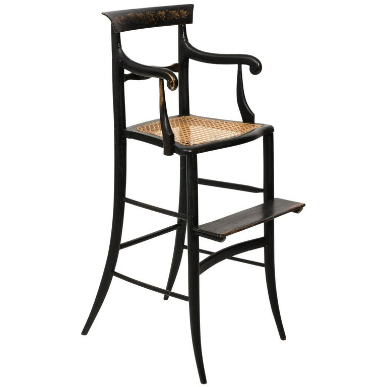 19th Century Black Painted Child's High Chair