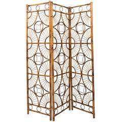 Three-Panel Foldable Bamboo Screen, circa Mid-20th Century