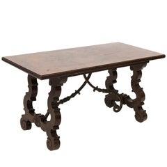 Italian Renaissance Style Walnut and Brass Trestle Coffee Table, circa 1950s
