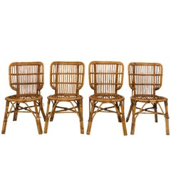 Set of Rattan Side Chairs, circa 1940s