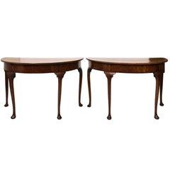 Pair of Oak Demilune Tables, circa 1740