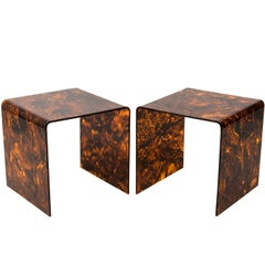 Pair of Faux Tortoise Lucite Side Tables, circa 1970