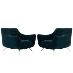 Henry Glass Lounge Chairs in Dark Teal Mohair