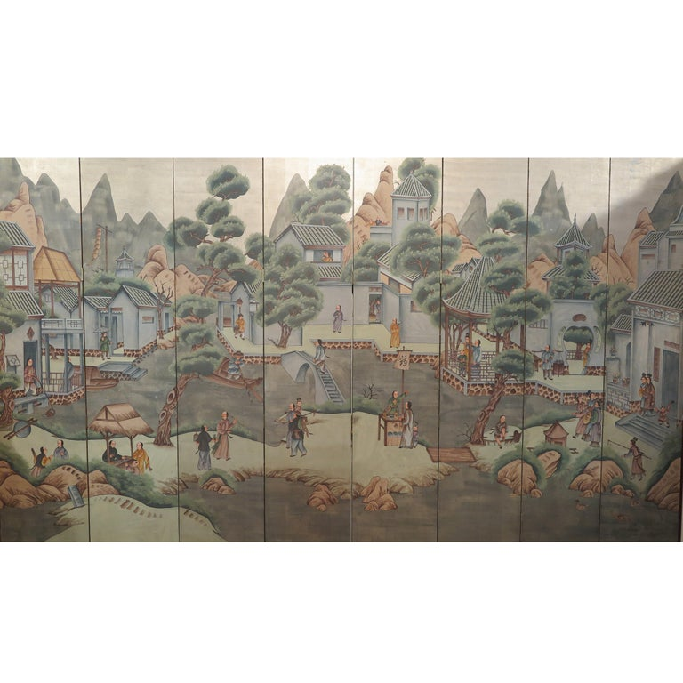 Chinese Eight Panel Painting Folding Screen For Sale