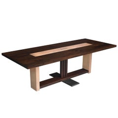 Piedmont Dining Table in Solid Wood with Metal Centrepiece
