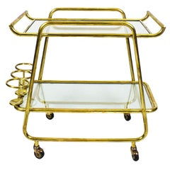 1930s Art Deco Bar Cart, Polished Brass and Glass, Bottles Rack, Italy
