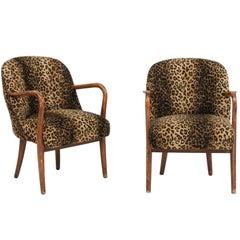 Pair of Vintage Italian Oak Animal Print Upholstered Armchairs, circa 1960