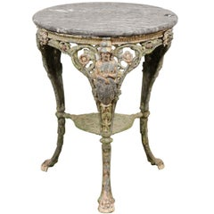 French 19th Century Painted Wrought-Iron Round Side Table with Carved Figure