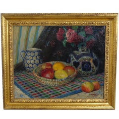 Still Life Painting of Fruit and Flowers by Rudolph Andree, 1924