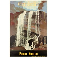 Original Vintage Asia Travel Poster for Cambodia Phnom Koulen Ft Kulen Waterfall