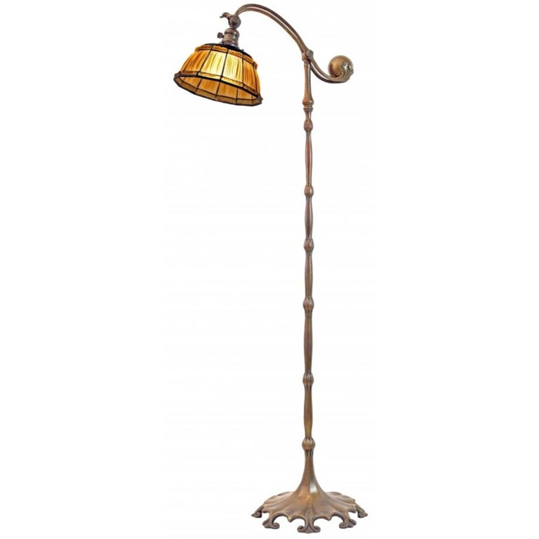 Tiffany Favrile Glass and Bronze Linenfold Counter-Balance Floor Lamp