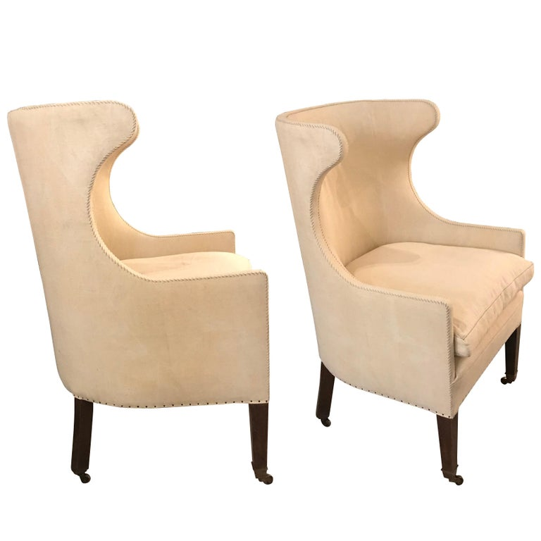 19th Century English Pair of Barrel Back Wing Chairs