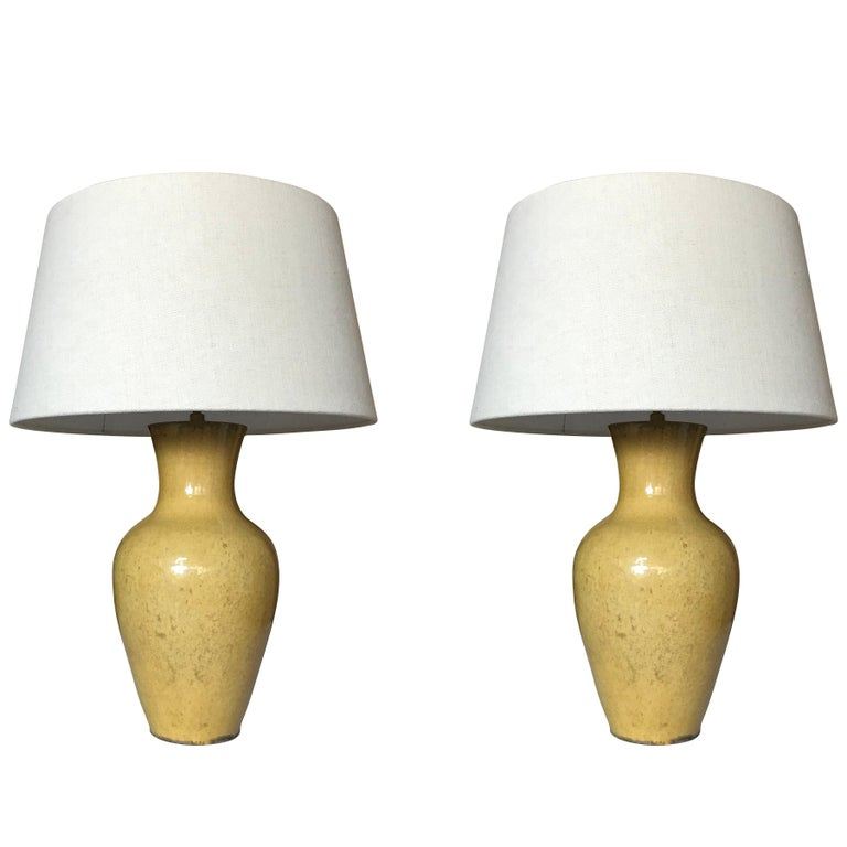 Yellow Pair Classic Shaped Lamps, China, Contemporary