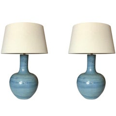 Turquoise Pair Lamps, China, Contemporary
