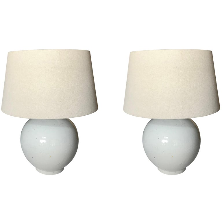 White Pair of Lamps, China, Contemporary For Sale