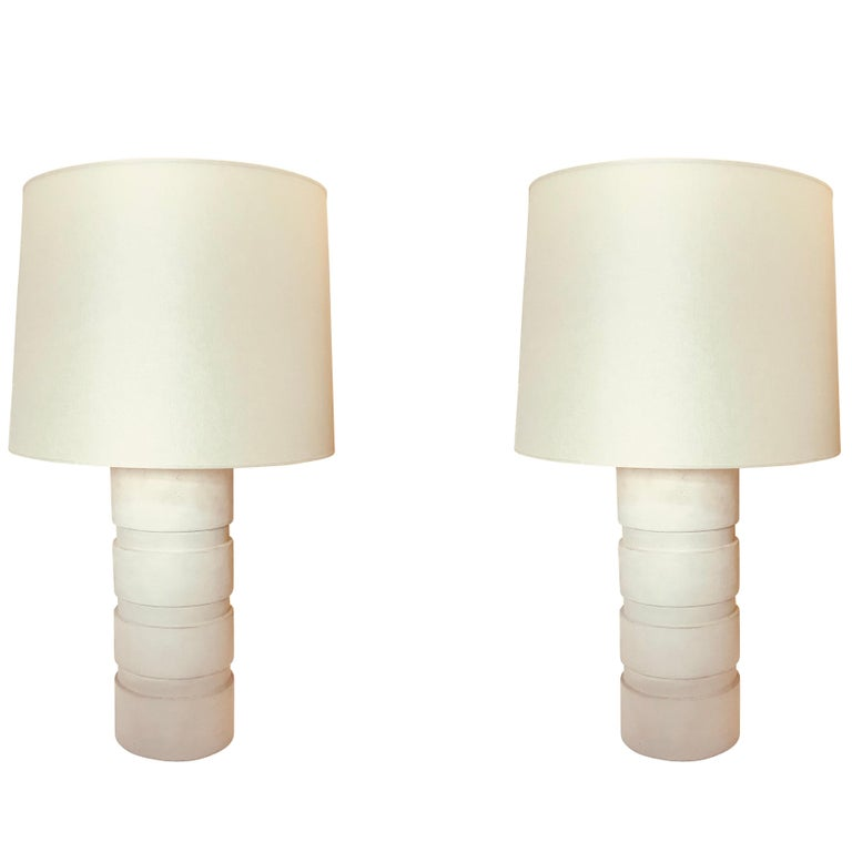 White Wooded Pair Cylinder Lamps, Belgium, Midcentury For Sale