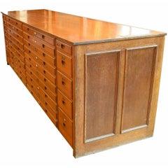 Oak Flat File Cabinet