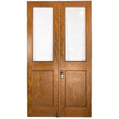 Tall Oak Double Doors with Beveled Glass Windows